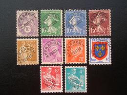 Préo  43-51-52-53-72-78-84-105-106-108  Lot De 10 Timbres Sans Gomme - 1893-1947
