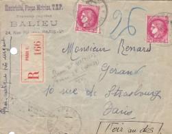 Pneumatique Recommandé Avec 2F Céres, 1941. - Marcofilie (Brieven)