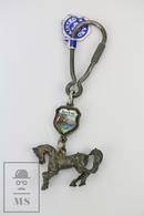 Vintage Italy Souvenir Keyring From Baveno - Horse Metal Figure - Llaveros