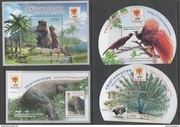 FAUNA, 2017, MNH, BANDUNG STAMP EXHIBITION, REPTILES, KOMODO DRAGON, BIRDS, BIRDS OF PARADISE,MONKEYS, MOUNTAINS, 4 S/S - Peacocks