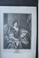 GRAVURE 512 PORTRAIT DE MARIE DE LAUBESPINE ( EPOUSE DE N. L. DE THORIGNY) D'après N. DE LARGILLIERE Par PIERRE DREVET - Estampes & Gravures