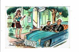 Cpsm La Dame Fait De L'auto-stop Prostituée Hotel Père Et Fils En Voiture Illustrateur Bonnotte Humour - Humour
