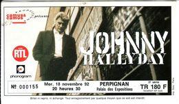 - Ticket De Concert - Johnny Hallyday - Perpignan 1992 - - Concert Tickets