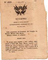 1860 DECRETO CONCESSA AMNISTIA  A TUTTI I MILITARI DELLA MARINA  PER REATO  DI  DISERZIONE - Decreti & Leggi