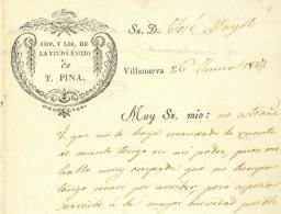 Villanueva 1847 Libreria La Viuda E Hijo Catalunya - Documenti Storici