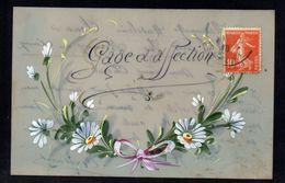 CPA FANTAISIE CELLULOID CELLULOIDE DOREE OR Art Nouveau Art Déco Peinte à La Main Gage D'Affection -# 626 - Fantaisies