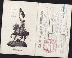 Guerre 14 CP En FM Franchise Militaire Jeanne D'Arc Sauve La France Dépôt Caserne Chasseurs D'Antibes - Postmark Collection (Covers)
