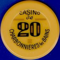 20Fr Casino Chip. Casino De Charbonnieres Les Bains, France. (Orange Color)L17. - Casino