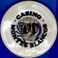 50 Pesetas Casino Chip. Casino Montes Blancos, Zaragosa, Spain. L17. - Casino