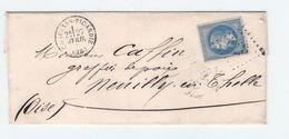 Lettre De CHAULNES -PICARDIE GC 975 Variété N°29B Réparé - 1849-1876: Période Classique