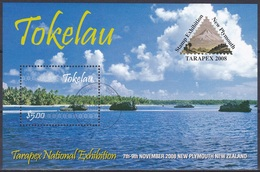 Tokelau 2008 Postwesen Philatelie Philately Briefmarkenausstellung TARAPEX Plymouth Inseln Küsten Palmen, Bl. 40 Gest. - Tokelau