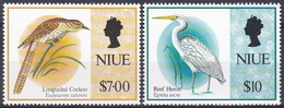 Niue 1993 Tiere Fauna Animals Vögel Birds Oiseaux Pajaro Uccelli Reiher Herons Egrets Koel, Mi. 832-3 ** - Niue