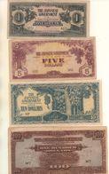 MALAISIE - Occupation Japonaise - 4 Billets Différents - 1, 5, 10 Et 100 Dollars ( Peu Commun ) - Malaysie