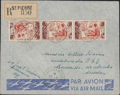 YT 344 X3 St Pierre Et Miquelon CAD Perlé St Pierre Miquelon 22 5 1950 Lettre Recommandée Par Avion 1er Jour D'emission - St.Pierre & Miquelon