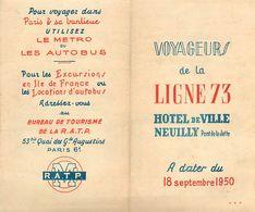 VP-GF.18-316 : LIGNE 73 HOTEL DE VILLE NEUILLY LA JATTE METRO RATP BUS PLAN - Titres De Transport