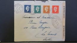 Lettre De Wesserling Haut Rhin 1945 Quadricolore Dulac Avec Bande De Contrôle Pour Le Mans - Guerre De 1939-45
