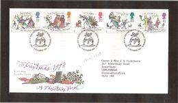 B C - Grande Bretagne 1704/1708 Série CHRISTMAS Du 9.11.1993 Sur Enveloppe Illustrée - FDC - - Covers & Documents