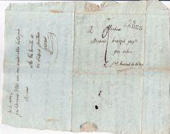 1820 Pli Marque Linéaire Noire 65 Prades 30x105 Mm Adressé à Benazet St Laurent Cerdans Par Arles 66 - Marcophilie (Lettres)
