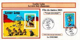 LUCKY LUKE FDC ORIGINAL TIMBRE ET FEUILLET - FDC