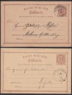Arnstadt Altenburg Deutsches Reich  2 Ganzsachenkarten 1873 Bzw. 1874 Nach Gefell Mockern - Deutschland