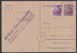 SBZ Ganzsachenkarte P4e Gestempelt 6 Pf. Berliner Bär Berlin Schöneberg Zusatzfrankatur - Zone Soviétique