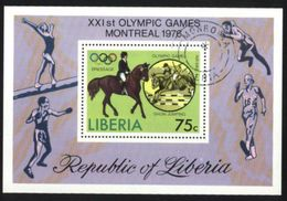 Liberia Horse Sports, 1976 Olympic Games Montreal Used Cancelled Block M/S (U-65) - Liberia