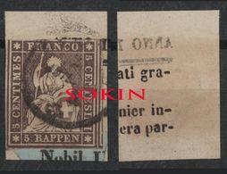 SVIZZERA - HELVETIA - (Vedere Fotografia) (See Photo) - 1862-81 - 5r Red Brown Embossed (filo Verde) Su Fram. NEWSPAPER - Usati