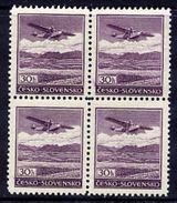 BOHEMIA And MORAVIA 1939 Airmail 30 H. Block Of 4 MNH / **.  MICHEL B1 - Occupation 1938-45