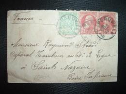 LETTRE MIGNONNETTE TP 10c X2 + TP 5c OBL.12 OCTO 1910 PERUWELZ à RAYMOND STRADI CAPORAL TAMBOUR 64e SAINT NAZAIRE (44) - 1905 Grosse Barbe