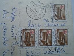 D156802 Hungary ÓZD  Centrum Áruház - Postage  Due  Eger -Szentes -  4 X 20 Filler Porto Stamps 1977 - Postage Due