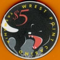 $5 Casino Chip. Wrest Point, Sandy Point, Tasmania. L19. - Casino