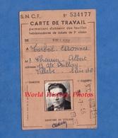 Carte D'identité Ancienne De Travail - SNCF - VILLABE à CORBEIL ESSONNES - 1956 - Albert Charrier - Titres De Transport