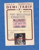 Carte D'identité Ancienne - SNCF - Demi Tarif - 3e Classe - Paris Montparnasse / Chartres - Gare - 1956 - Titres De Transport