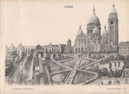 PARIS - SACRE COEUR BASILICA, Großer Druck Auf Karton, Format Ca. 29 X 21 Cm, Gute Erhaltung ... - Lithographien