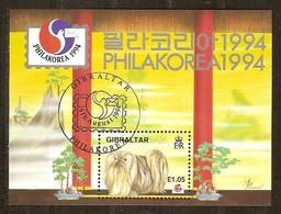 Gibraltar 1994 Yvertn° Bloc 19 (o) Oblitéré Used  Cote 6,50 Euro Philkorea Faune Chien Hond Dog - Gibraltar