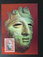 Carte Maximum Card Masque De Bronze Mask Archeologie Archaeology Luxembourg 1982 - Cartes Maximum