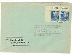 DDR Brief Mit Mi.Nr.216 Als Paar Vom Linken Oberen Bogenrand Stempel Pasewalk Nach Leipzig - Briefe U. Dokumente