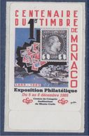 = Vignette Autocollante Neuve Du 5 Au 8 Décembre 1985 Centenaire Du Premier Timbre De Monaco Exposition Philatélique - Altri