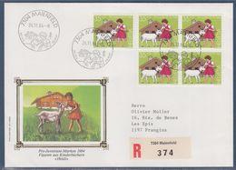 = Enveloppe Recommandé 5 Timbres Heidi Personnage De Livres D'enfants, Maienfeld, 26.11.84 - Postmark Collection