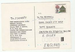 1987 Czechoslovakia NEUROLOGICAL CLINIC Comenius MEDICAL UNIVERSITY COVER Card To Biochemistry Dept Brighton GB Health - Covers & Documents
