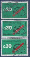 = Code Postal 3 Timbres Dont 2 Présentent Décalage Du Rouge Laissant Apparaître Du Blanc Genre Croissant De Lune N°1719 - Curiosidades: 1970-79 Usados