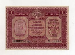 Italia - Cassa Veneta Dei Prestiti - Buono Di Cassa Da 1 Lira - 2 Gennaio 1918 - (FDC8541) - [ 5] Treasure