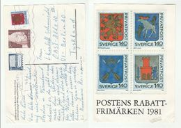 1981 SWEDEN Stamps COVER (postcard 1981 Stamps Heraldic Lion Moose Dragon) - Covers & Documents