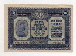 Italia - Cassa Veneta Dei Prestiti - Buono Di Cassa Da 10 Lire - 2 Gennaio 1918 - (FDC8542) - Buoni Di Cassa