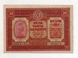 Italia - Cassa Veneta Dei Prestiti - Buono Di Cassa Da 20 Lire - 2 Gennaio 1918 - (FDC8543) - [ 5] Treasure