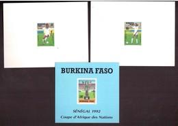 Burkina Faso. 3 épreuves De Luxe. 1992. (847-848 +BF 41) CAN Coupe D'Afrique Des Nations 92 . Football. - Burkina Faso (1984-...)
