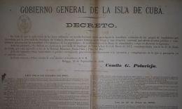 E4226 CUBA SPAIN ESPAÑA 1890. POSTER DECRETO SOBRE BANDOLERISMO. CAPT GEN. POLAVIEJA.  32x44cm. - Documentos Históricos
