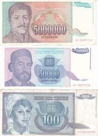 LOTTO 3 BANCONOTE YUGOSLAVIA 1992,93 ,P-112,130 P-132 FV+XF+ - Jugoslavia