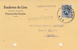 Frasnes-lez-Couvin  , Griffe Linéaire , Cachet  Charleroi ,carte Publicitaire Fonderie Du Lion - Poststempel