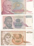 LOTTO 3 BANCONOTE YUGOSLAVIA 1990,93,94 ,P-105,137 P-140 FV+XF+ - Jugoslavia